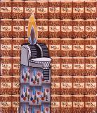 Artwork title: Buck Stove Artwork medium playing cards on canvas